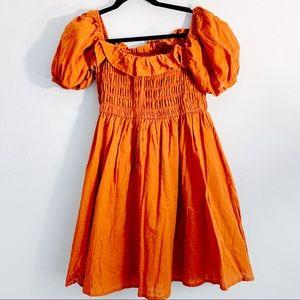 Burnt Orange Baby Doll Mini Dress NWT